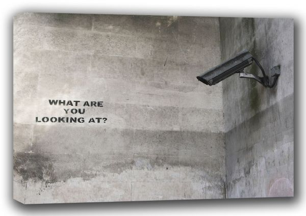 Banksy: CCTV - What Are You Looking At? Graffiti/Street Fine Art Canvas. Sizes: A4/A3/A2/A1 (001195)